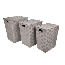 set de 3 coffres a linge tressés papier douceur d'interieur h.46>54cm taupe