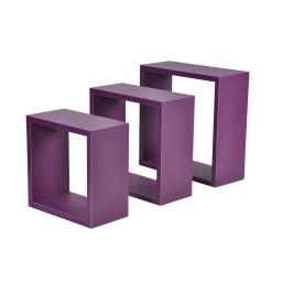 set de 3 cubes gigognes prune 23cm/26.5cm/30cm epaisseur 1.5cm