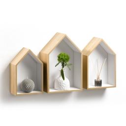 set de 3 etageres niches maison mdf factory h30/34.5/39cm blanc