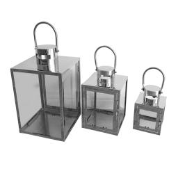 set de 3 lanternes acier inoxydable h15.5/23/31cm