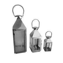 set de 3 lanternes acier inoxydable h18/33/48cm