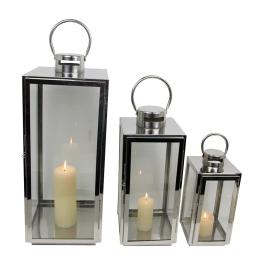 set de 3 lanternes acier inoxydable h30/42/56cm