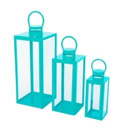 set de 3 lanternes carrées bleues metal - 12*12*h.30cm/17*17*h.41cm/21*21*h.54