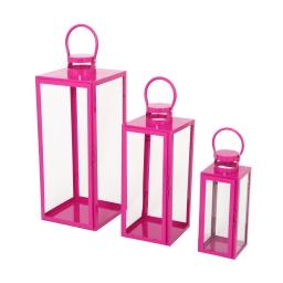 set de 3 lanternes carrées fuchsia metal - 12*12*h.30cm/17*17*h.41cm/21*21*h.54