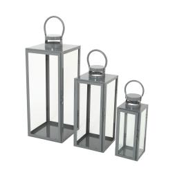 set de 3 lanternes carrées gris an. metal - 12*12*h.30cm/17*17*h.41cm/21*21*h.54