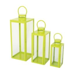 set de 3 lanternes carrées vert a. metal - 12*12*h.30cm/17*17*h.41cm/21*21*h.54