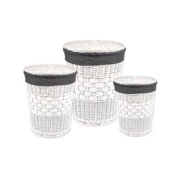 set de 3 paniers a linge osier et polyester 24l/43l/70l anthracite