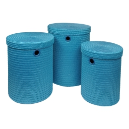 set de 3 paniers a linge plastique tressé 18l/29l/45l trendy  bleu ocean