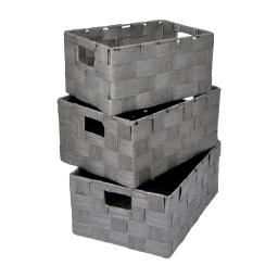 set de 3 paniers papier tressé 30/34/36cm anthracite