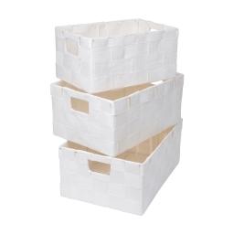 set de 3 paniers papier tressé 30/34/36cm blanc