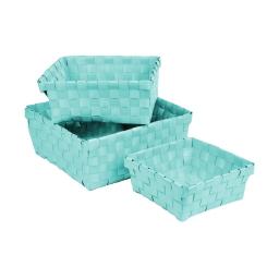 set de 3 paniers tressé plastique 14,5/18/21,5cm vitamine vert menthe