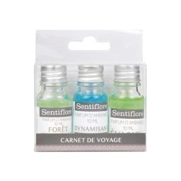 set de 3 parfums d'ambiance theme carnet de voyage - 3x10ml