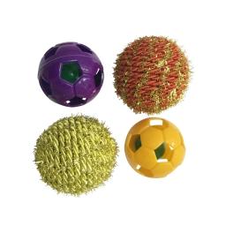 set de 4 balles pour chat en polyester et plastique ø4cm