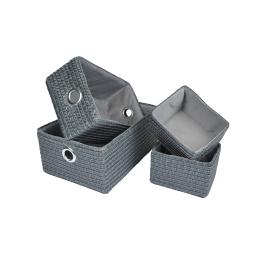set de 4 paniers de rangement pp gris 17cm/32cm/36cm douceur glitter home