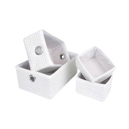 set de 4 paniers tressé plastique et polyester 2x17/32/36cm glitter home blanc