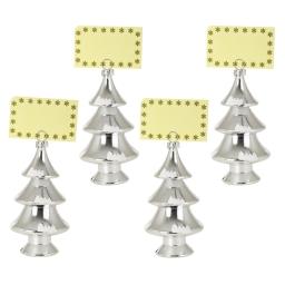 set de 4 porte nom sapins-couleur argent-h15cm