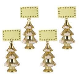 set de 4 porte nom sapins-couleur or-h15cm
