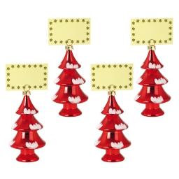 set de 4 porte nom sapins-couleur rouge-h15cm