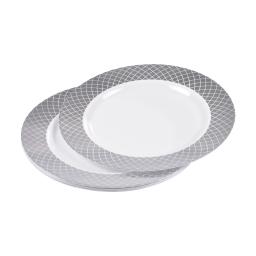 set de 6 assiettes ps blanches avec contour ø23cm argent
