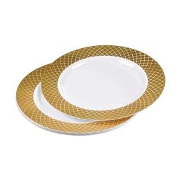 set de 6 assiettes ps blanches avec contour ø23cm or