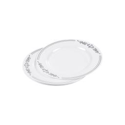 set de 6 assiettes ps blanches avec motifs ø19cm argent