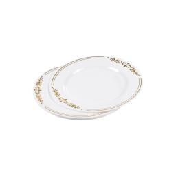 set de 6 assiettes ps blanches avec motifs ø19cm or