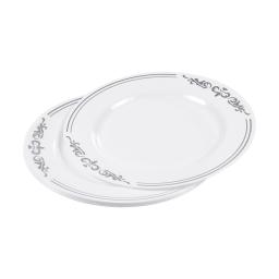 set de 6 assiettes ps blanches avec motifs ø23cm argent