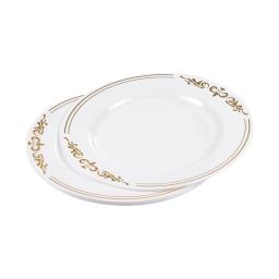 set de 6 assiettes ps blanches avec motifs ø23cm or