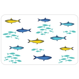 set de table 28.5 x 43.5 cm pvc imprime 50/100e lil fish
