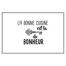 Set de table 28.5 x 43.5 cm pvc imprime cuisine bonheur Blanc