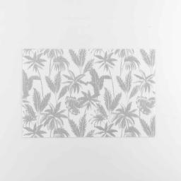Set de table 28.5 x 43.5 cm pvc imprime metallise feuillor Blanc/argent