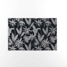 Set de table 28.5 x 43.5 cm pvc imprime metallise feuillor Noir/argent