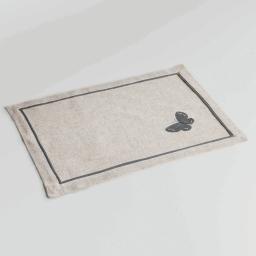 Set de table 33 x 45 cm polyester ramie brode opaline Gris