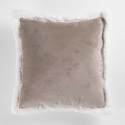 So coussin 40 x 40 cm velours/sherpa artic Taupe