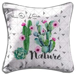 so coussin passepoil 40 x 40 cm fils coupes imprime graphi cactus