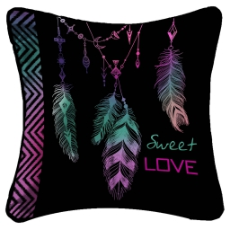 so coussin passepoil 40 x 40 cm fils coupes imprime lucky plumes