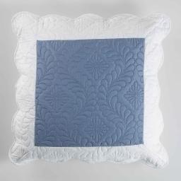 So housse de coussin +encart 60 x 60 cm microfibre bicolore andrea Bleu/Blanc