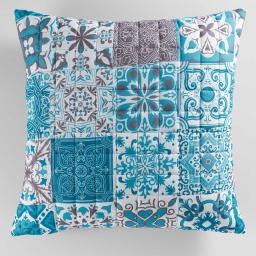 So housse de coussin +encart 60 x 60 cm microfibre imprimee persane Bleu