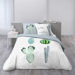 so parure 3 p. 200 x 200 cm imprime 42 fils dessin place hello cactus