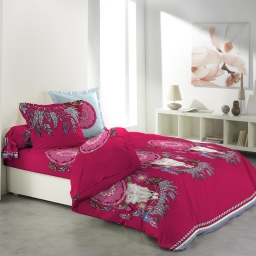 so parure couette 6 p. 260 x 240 cm imprime 42 fils allover new chenoa