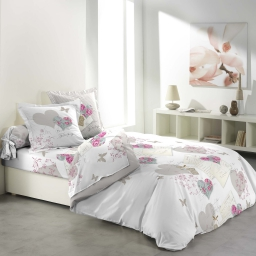 so parure couette 6 p. 260 x 240 cm imprime 42 fils allover romantic hearts