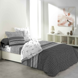 so parure couette 6 p. imprime 42 fils allover graphic home