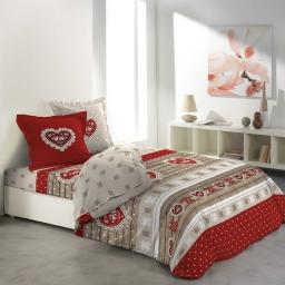 so parure drap 4 p. 140 x 190 cm flanelle imprimee allover coeur rouge
