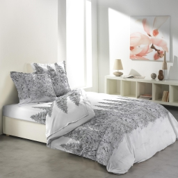 So parure drap 4 p. 140 x 190 cm flanelle imprimee allover sapin Blanc