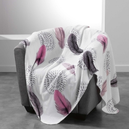 So plaid 125 x 150 cm flanelle imprimee pink dream Blanc