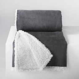 So plaid 125 x 150 cm suede/sherpa inuit Gris