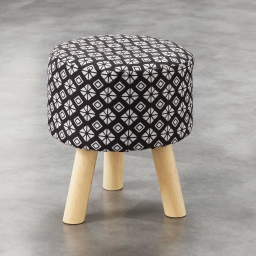 So tabouret (0) 32 cm x ht 36 cm fils coupes imprime graphic home Noir
