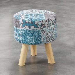 So tabouret (0) 32 cm x ht 36 cm fils coupes imprime persane Bleu
