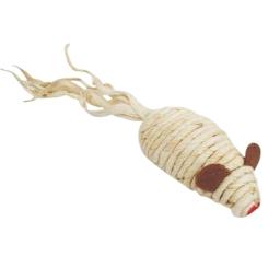 souris pour chat avec grelot en sisal l7cm coloris écru