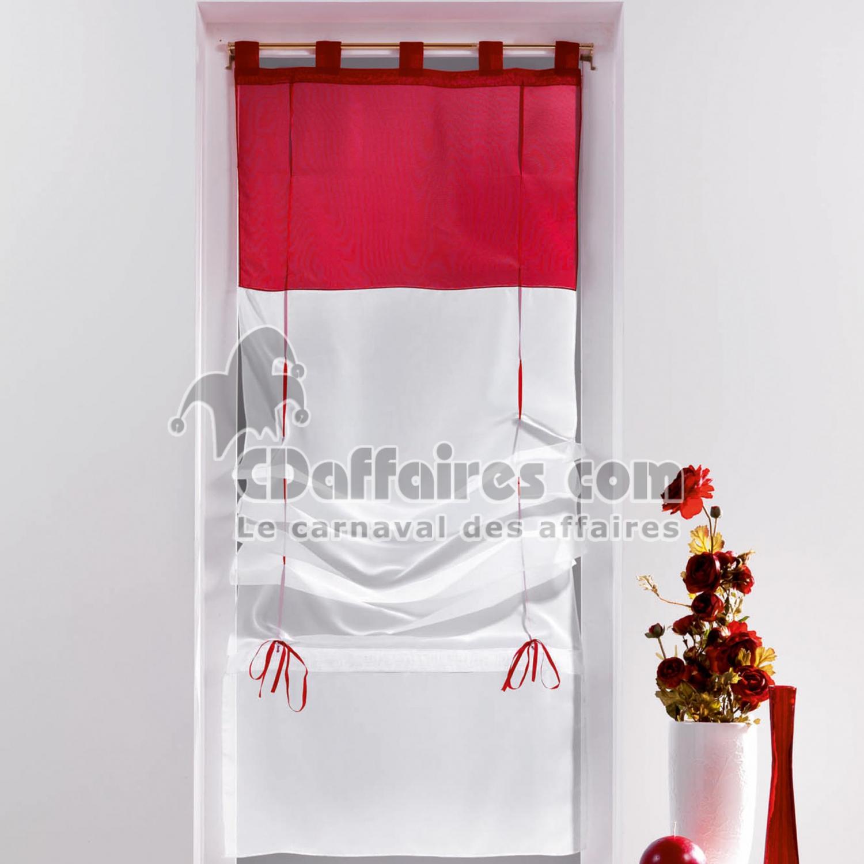 store droit a passants 45 x 180 cm voile bicolore duo blanc carmin cdaffaires. Black Bedroom Furniture Sets. Home Design Ideas